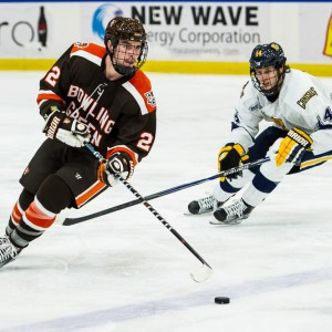 Bowling Green's Braden Pears controsl the puck against Canisius earlier this season. (Photo by Todd Pavlack/BGSUHockey.com).