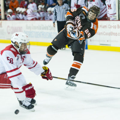 Bowling Green's Matt Meier shoots the puck against Miami earlier this season (Photo by Todd Pavlack/BGSUHockey.com).