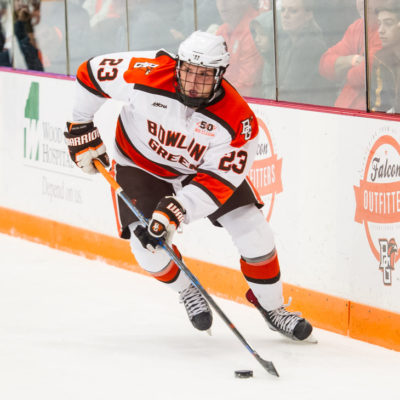 Bowling Green's Alec Rauhauser looks to make a play against Ferris State Friday night in the Ice Arena (Photo by Todd Pavlack/BGSUHockey.com).